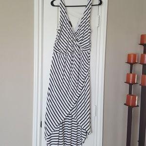 Sexy striped hi-low maxi dress
